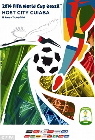 Cuiaba: The capital of the state of Mato Grosso is in the exact centre of South America and is considered the heart of the continent. The poster's bright colours shows the joy the World Cup will bring and the joyful nature of the locals. The silhouette of the whole state is displayed in the centre of the ball.