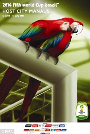 Manaus: This city is in the state of Amazonas, which is almost entirely covered by rainforest. The parrots sitting on top of the goal post are representative of that, and signify the fact we cheer for great players, matches, goals, and for nature itself.