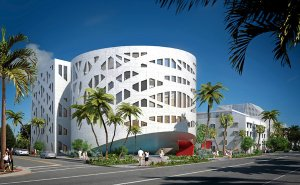 PRIDE OF PLACE The Faena Forum in Miami Beach, designed by Rem Koolhaas, is to be completed in December. It will host lectures, debates, theater, art exhibitions and other events. Credit Rendering by Faena/Oma